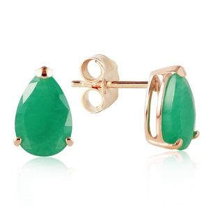 14K. SOLID GOLD STUD EARRING WITH NATURAL EMERALDS